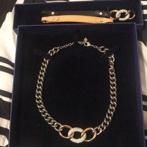 Swarovski necklace and a leather wrap bracelet